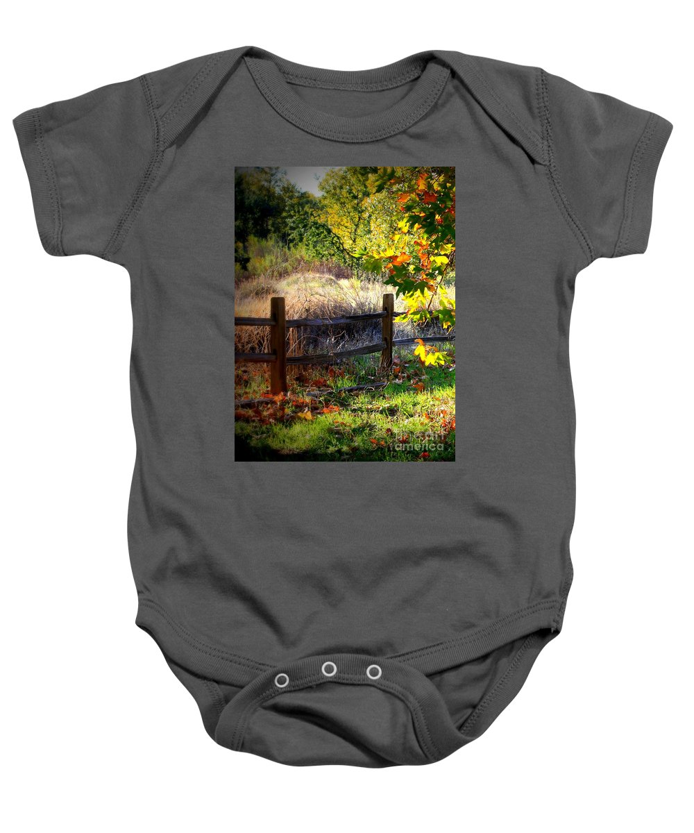 Fence Baby Onesie featuring the photograph Sycamore Grove Fence 1 by Carol Groenen
