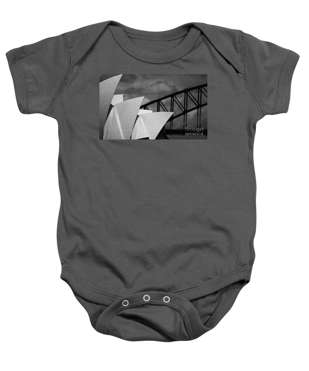 Sydney Opera House Baby Onesie featuring the photograph Sydney Opera House With Harbour Bridge by Sheila Smart Fine Art Photography