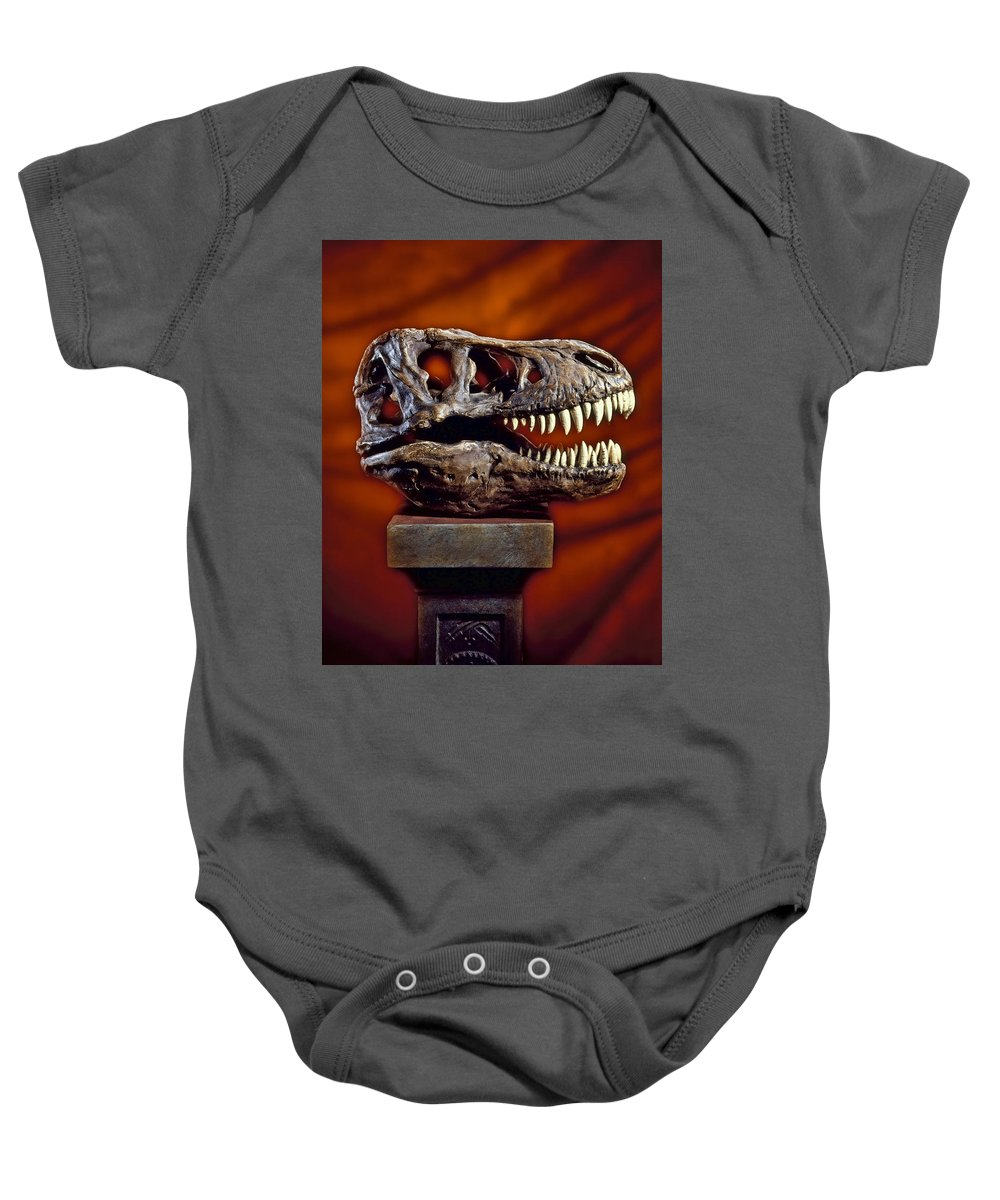 Tyrannosaurus Rex Baby Onesie featuring the photograph T Rex Skull by Kelley King