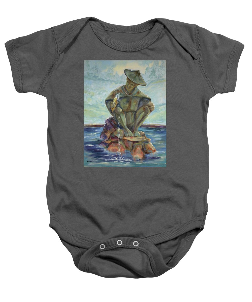 Landscape Baby Onesie featuring the painting Taipei Fountain by Ginger Concepcion