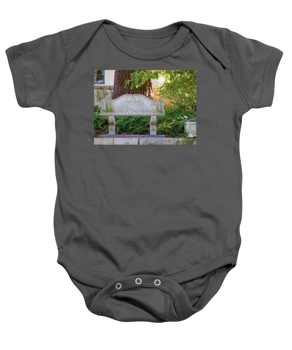 Bench Baby Onesie featuring the photograph Take A Break by Debbi Granruth