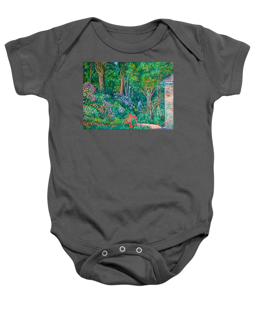Suburban Paintings Baby Onesie featuring the painting Taking A Break by Kendall Kessler
