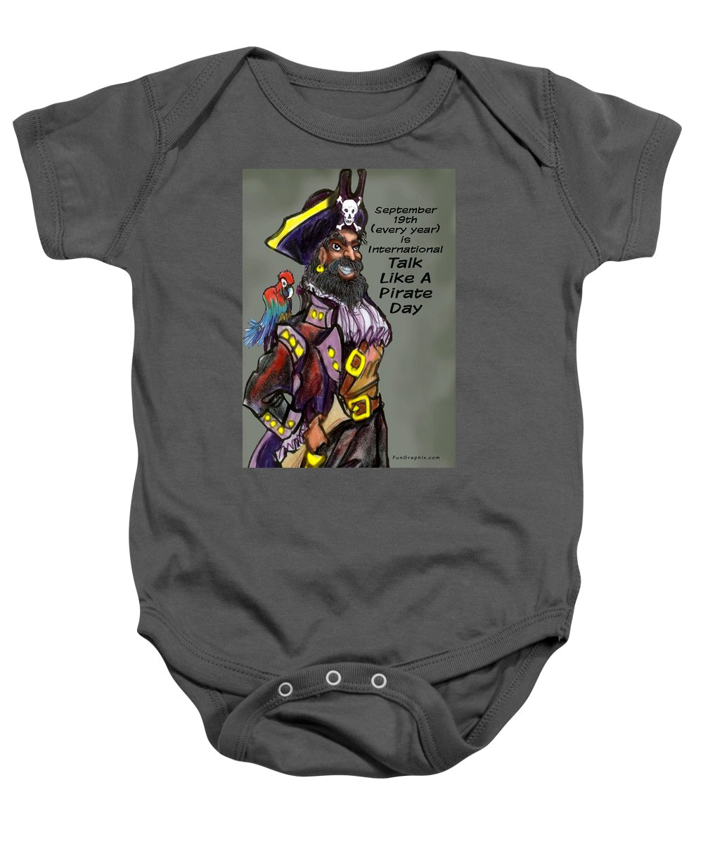Pirate Baby Onesie featuring the greeting card Talk Like A Pirate Day by Kevin Middleton