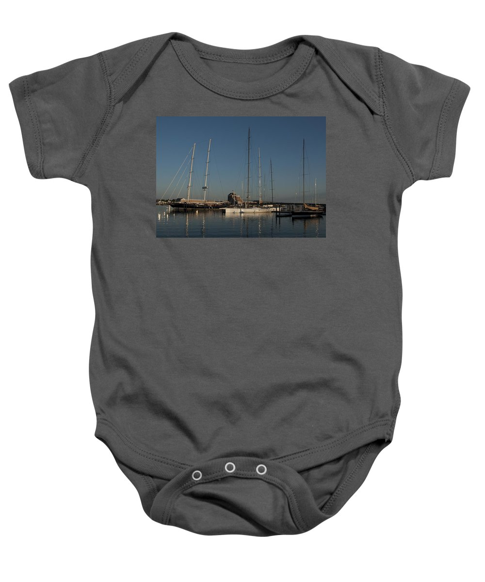 Schooner Baby Onesie featuring the photograph Tall Boats In The Morning by Steven Natanson