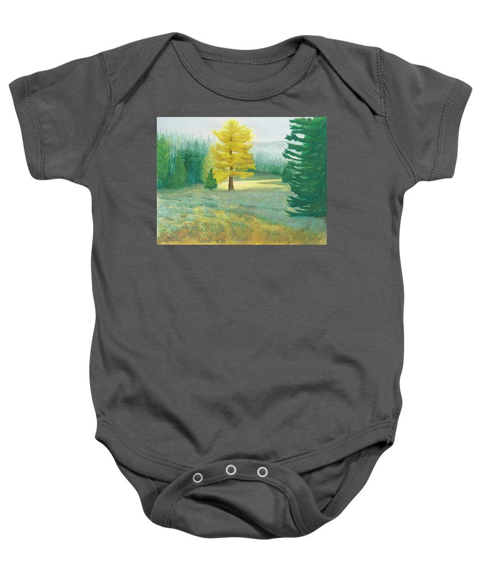 Landscape Baby Onesie featuring the painting Tamarack by Dennis Fisk