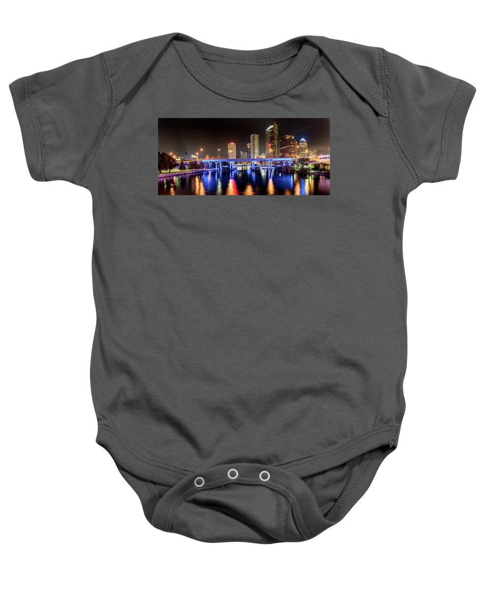 Tampa Bay River Walk Baby Onesie featuring the photograph Tampa Skyline by Abraham Schoenig