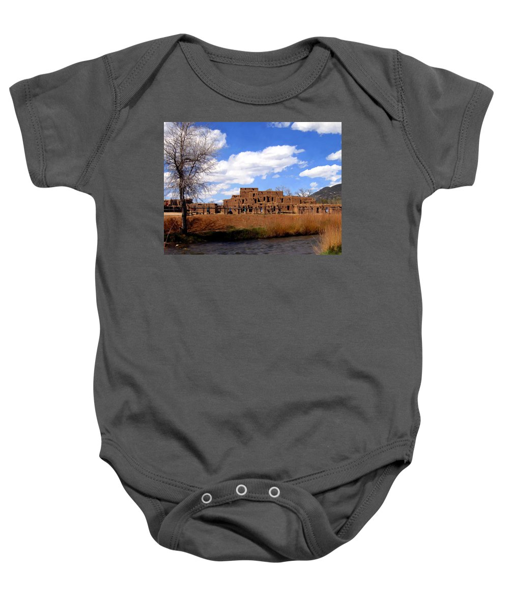Taos Baby Onesie featuring the photograph Taos Pueblo Early Spring by Kurt Van Wagner