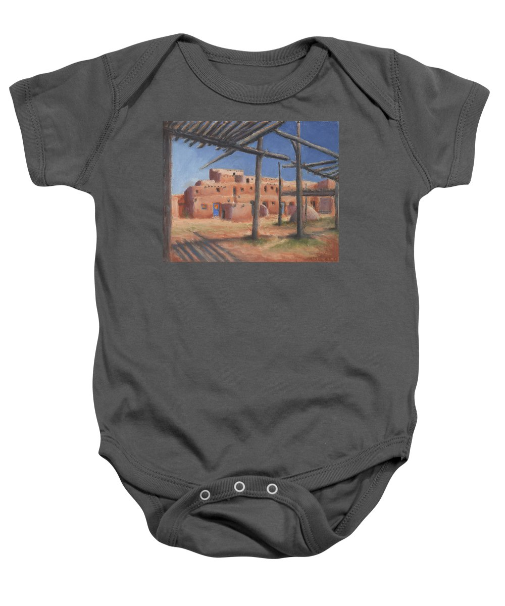 Taos Baby Onesie featuring the painting Taos Pueblo by Jerry McElroy