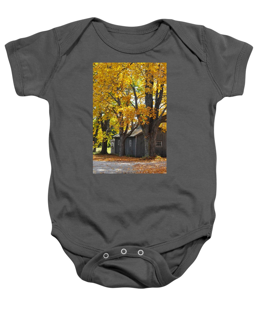 Autumn Baby Onesie featuring the photograph Tar Paper Shack by Tim Nyberg