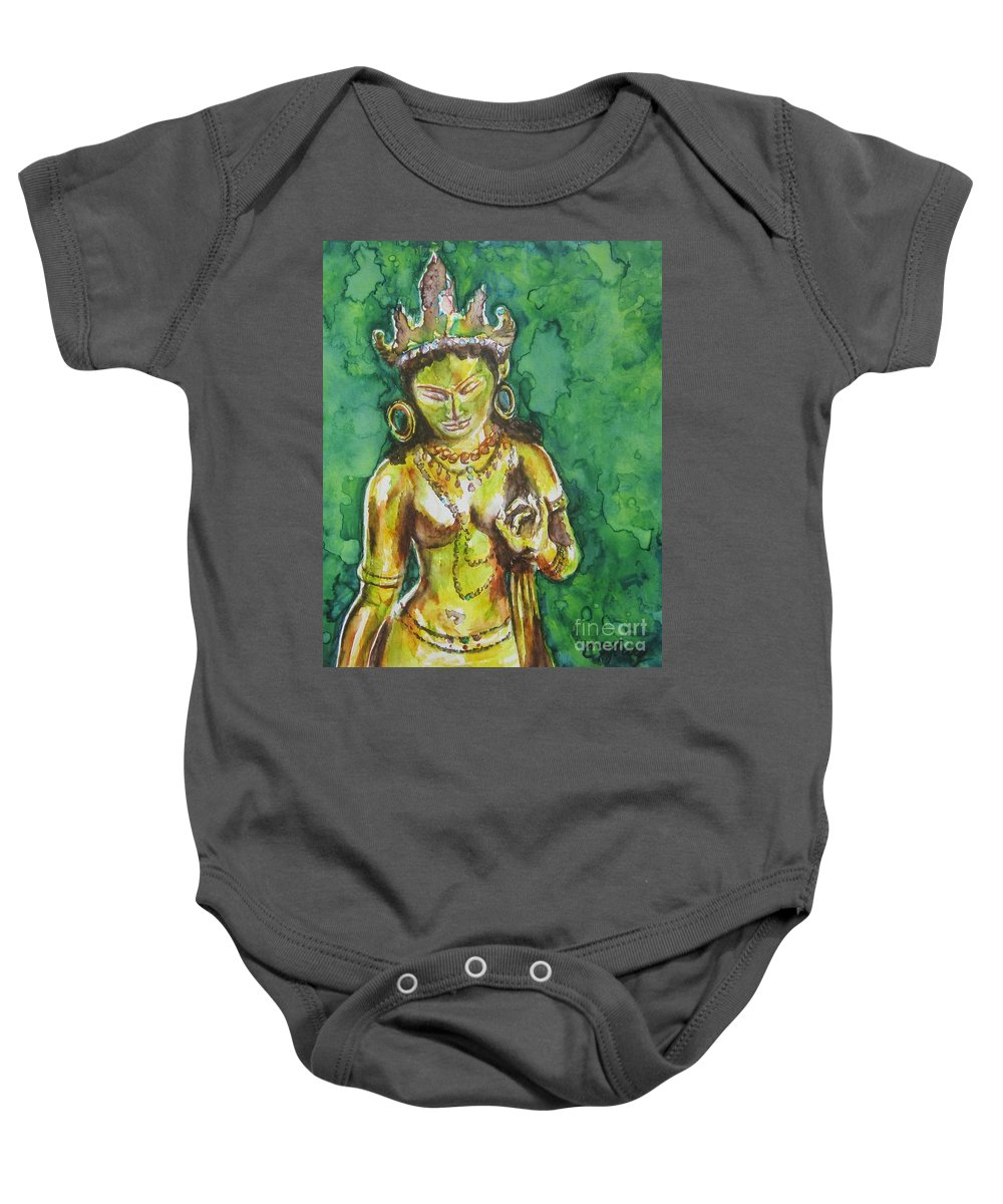 Tara Baby Onesie featuring the painting Tara Compassion by Christine Kfoury