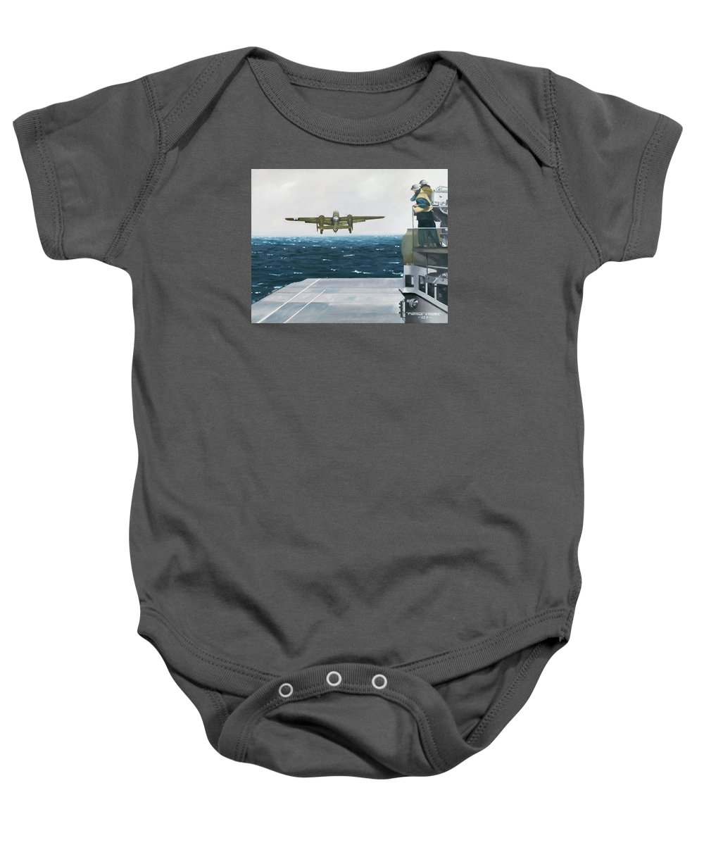 Aviation Baby Onesie featuring the painting Target Tokyo by Marc Stewart