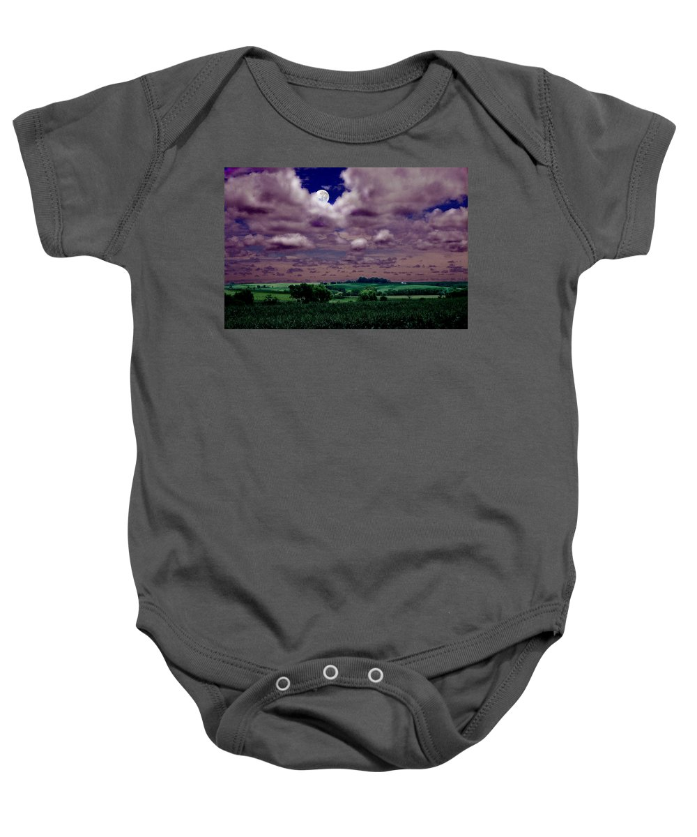 Landscape Baby Onesie featuring the photograph Tarkio Moon by Steve Karol