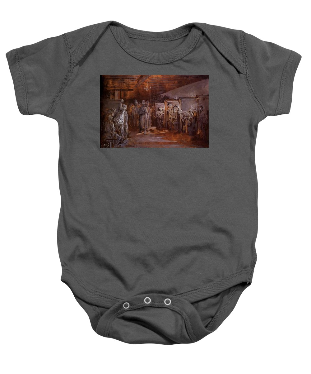 Tavern Baby Onesie featuring the painting Tavern In Whitechapel 1869 by Dore Gustave