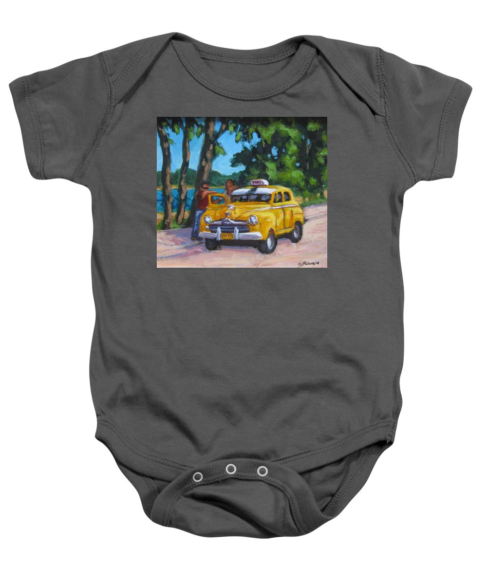 Old Cars Baby Onesie featuring the painting Taxi Y Amigos by John Malone