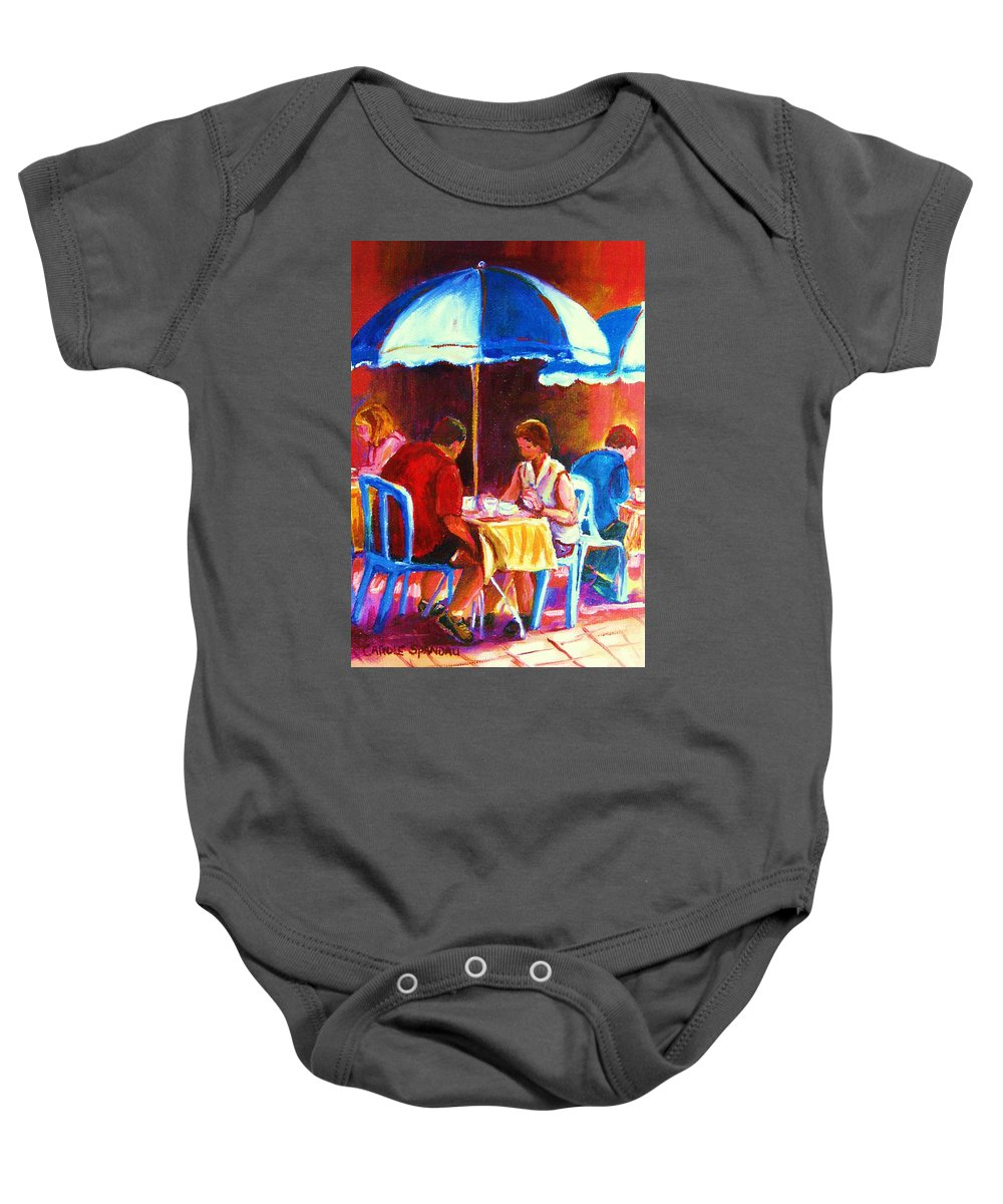 St. Denis Outdoor Cafe Montreal Street Scenes Baby Onesie featuring the painting Tea For Two by Carole Spandau