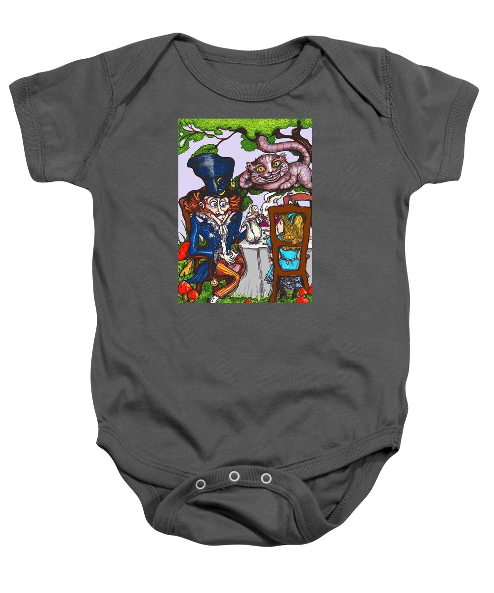 Alice In Wonderland Baby Onesie featuring the drawing Tea Party by Rae Chichilnitsky
