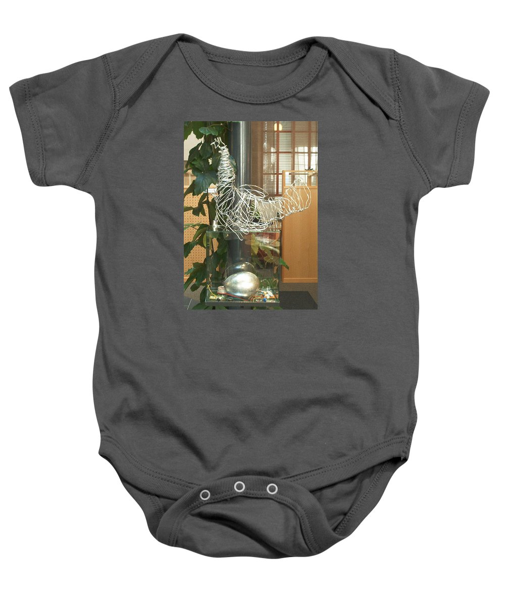 Baby Onesie featuring the sculpture Techno Hen by Jarle Rosseland