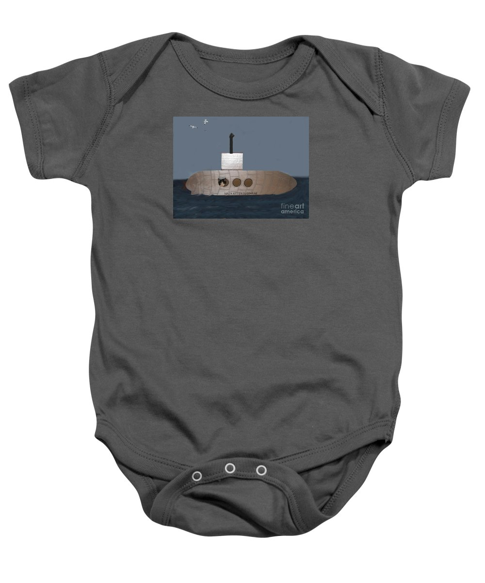 Children Baby Onesie featuring the photograph Teddy In Submarine by Reb Frost