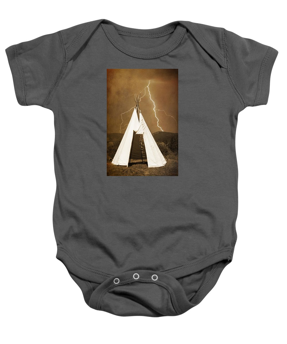 Tee Pee Baby Onesie featuring the photograph Tee Pee Lightning by James BO Insogna