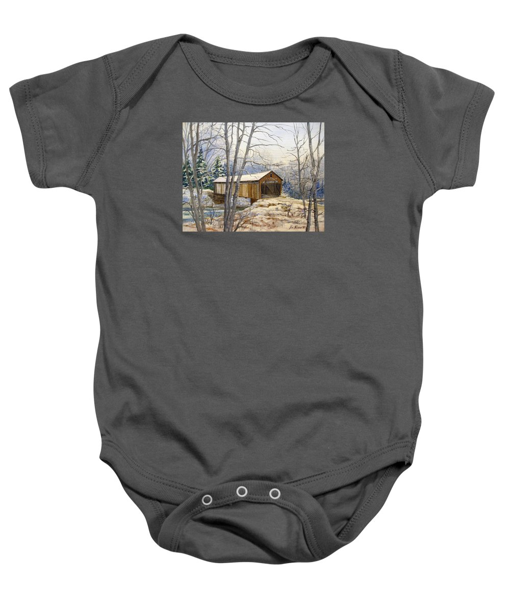 Oil Painting;bridge;covered Bridge;winter Scene;snow;landscape;winter Landscape; Baby Onesie featuring the painting Teegarden Covered Bridge In Winter by Lois Mountz