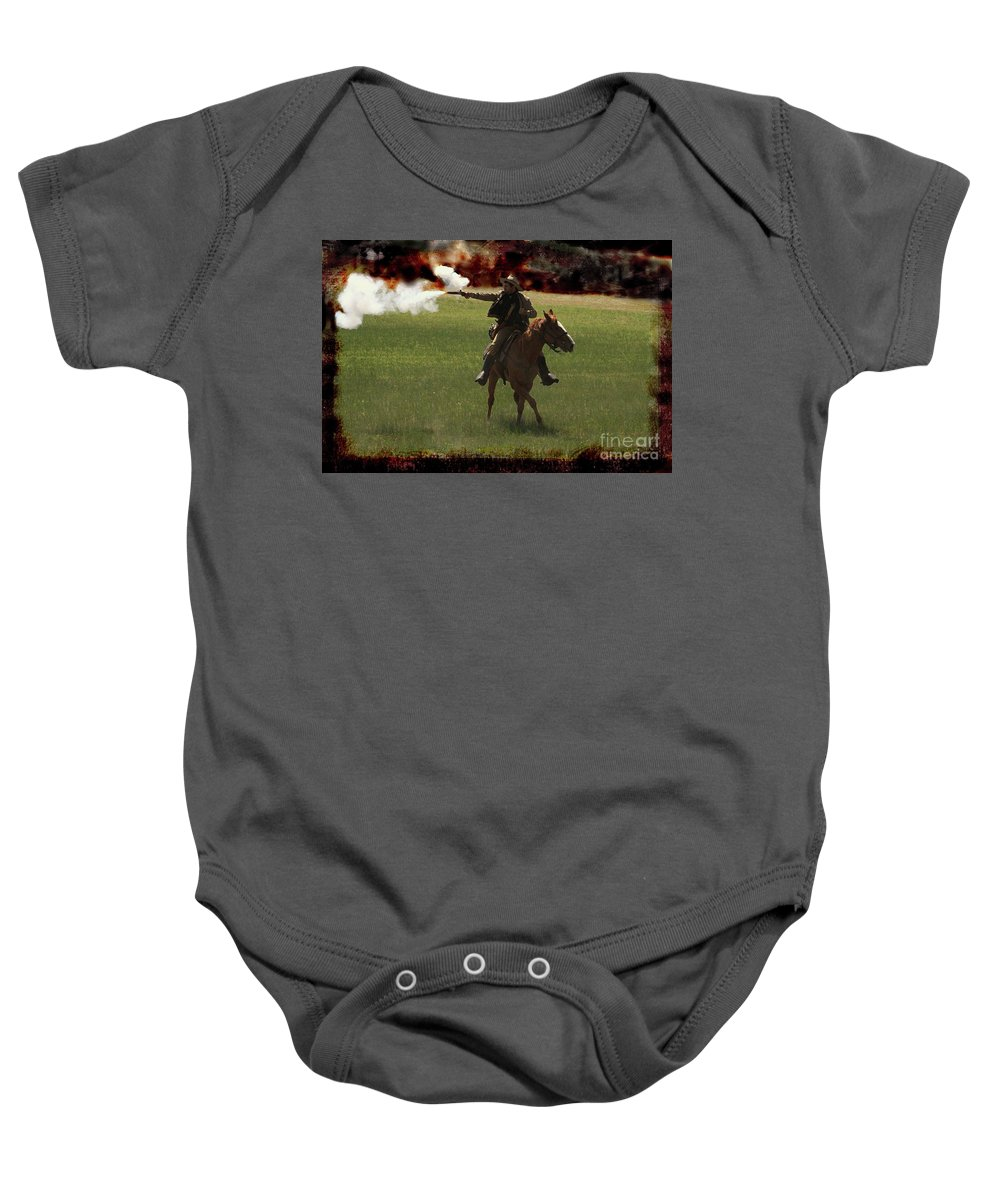 Re-enactor Baby Onesie featuring the photograph Tejano Cavalry by Kim Henderson