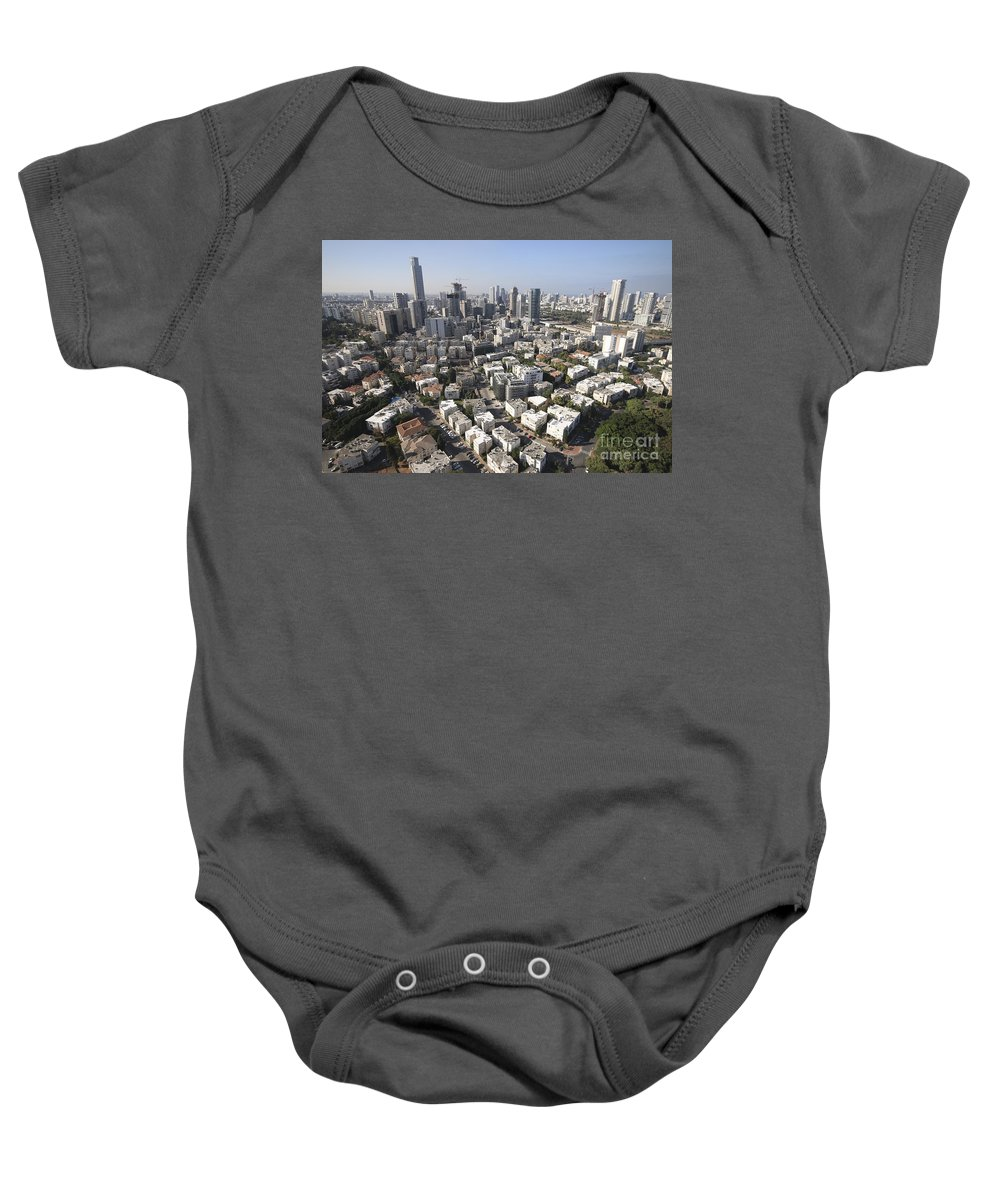 Aerial Photography Baby Onesie featuring the photograph Tel Aviv And Ramat Gan Israel by Dragonfly
