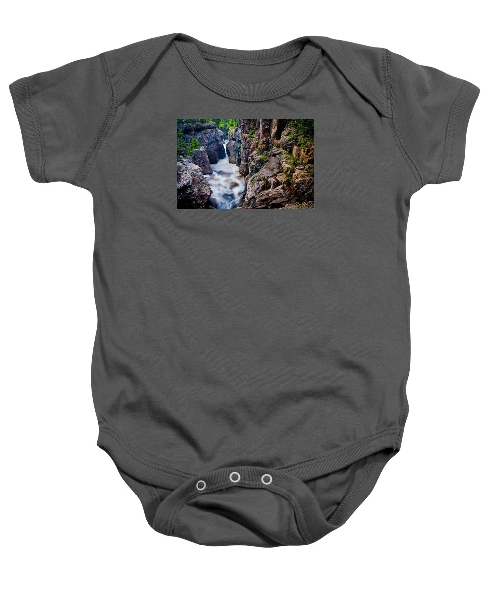 Flowing Baby Onesie featuring the photograph Temperance River Gorge by Rikk Flohr