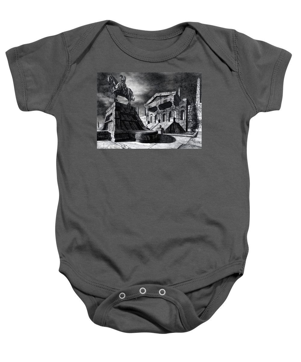 Greek Architecture Baby Onesie featuring the drawing Temple Of Perseus by Curtiss Shaffer