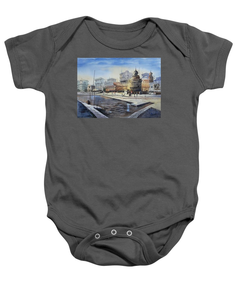 Landscape Baby Onesie featuring the painting Temple by Siddhanath Tingare