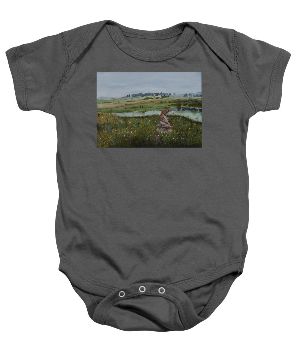 Impression Baby Onesie featuring the painting Tender Blossom - Lmj by Ruth Kamenev