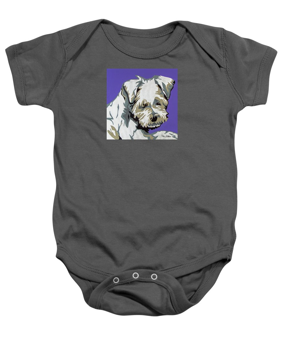 Terrier Baby Onesie featuring the painting Terrier Mix by Slade Roberts
