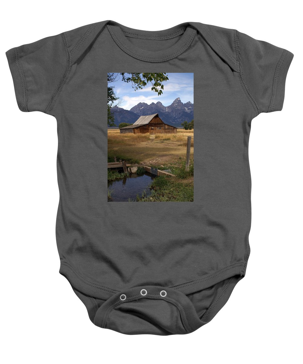 Grand Teton National Park Baby Onesie featuring the photograph Teton Barn 2 by Marty Koch