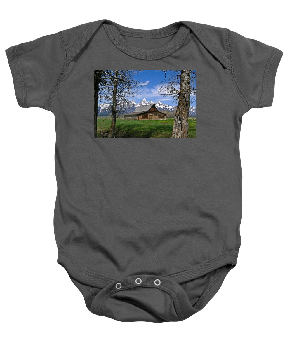 Teton Baby Onesie featuring the photograph Teton Barn by Douglas Barnett