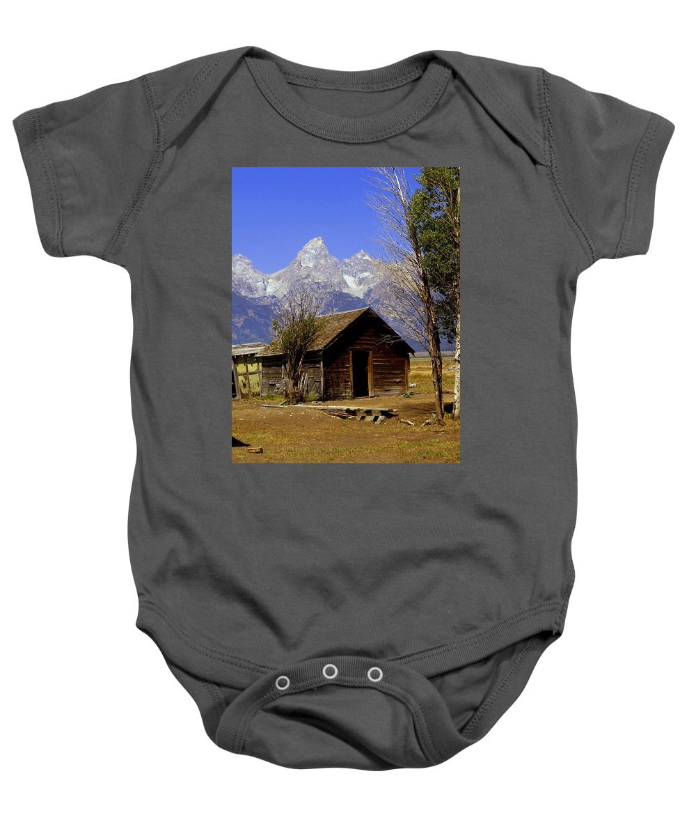 Grand Teton National Park Baby Onesie featuring the photograph Teton Cabin by Marty Koch