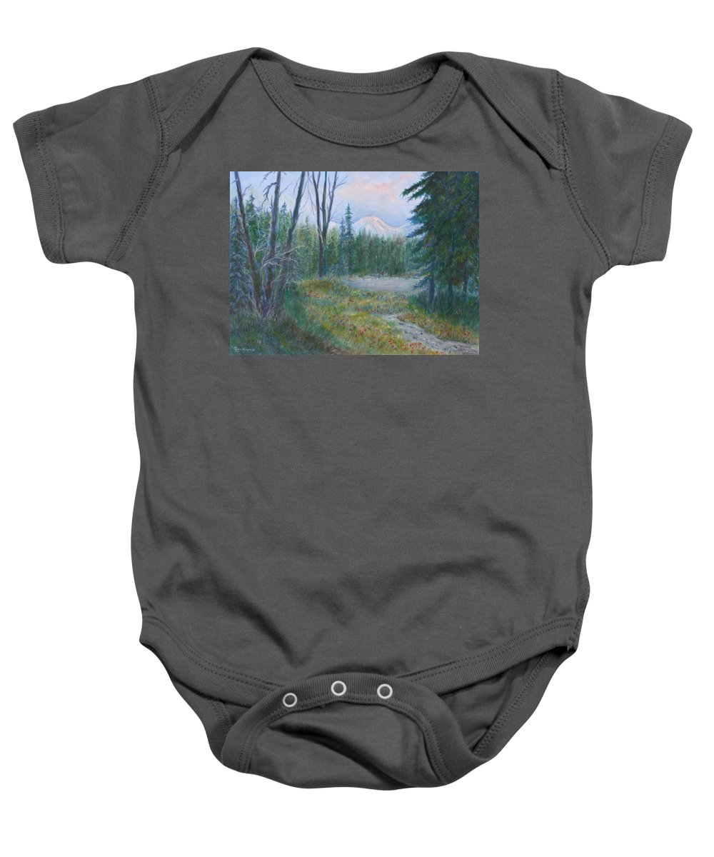 Landscape Baby Onesie featuring the painting Teton Valley by Ben Kiger