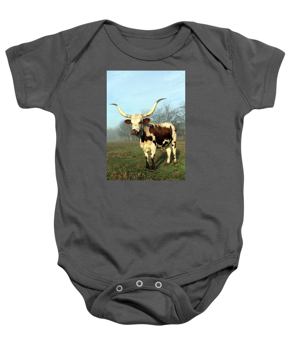 Texas Baby Onesie featuring the photograph Texas Longhorn At Sunrise by Warren Birge