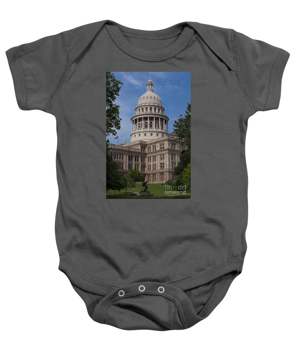 Austin Baby Onesie featuring the photograph Texas State Capitol - Austin Tx by Anthony Totah