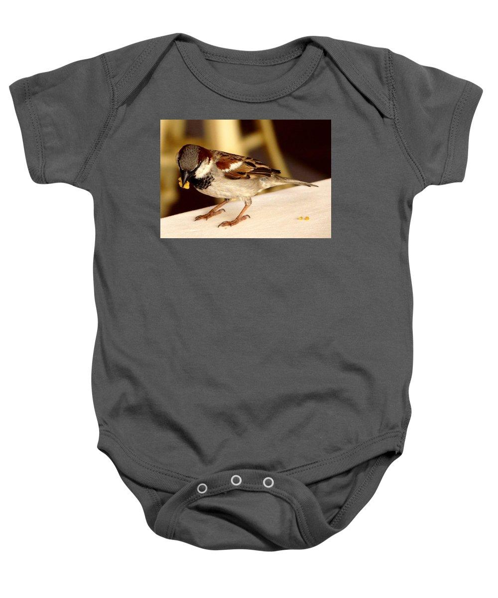 Bird Baby Onesie featuring the photograph Thanks by Valerie Ornstein