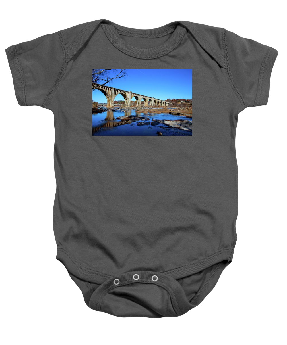 James River Baby Onesie featuring the photograph The A-line by Cliff Middlebrook