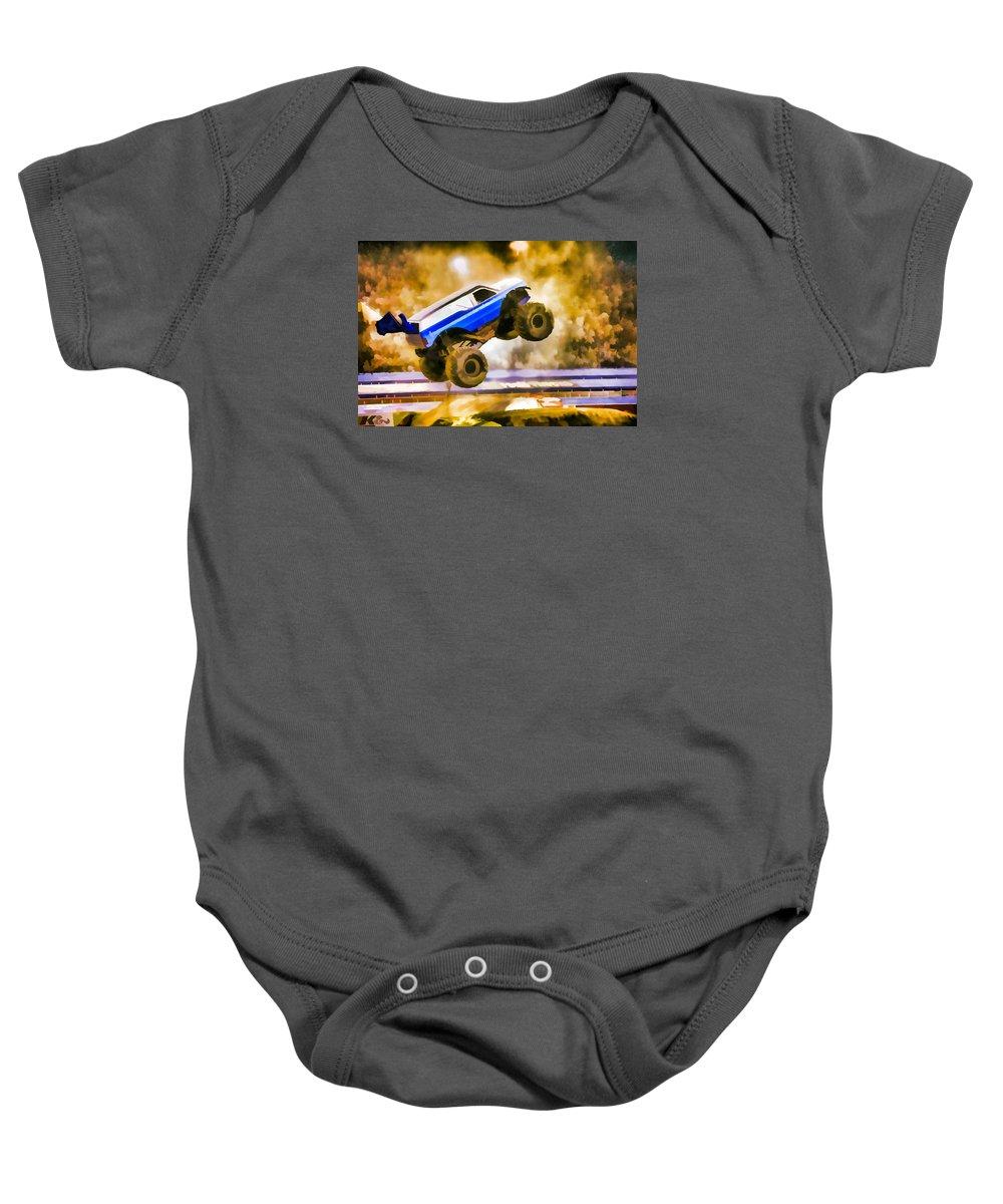 The Air Force Afterburner Baby Onesie featuring the painting The Air Force Afterburner by Jeelan Clark