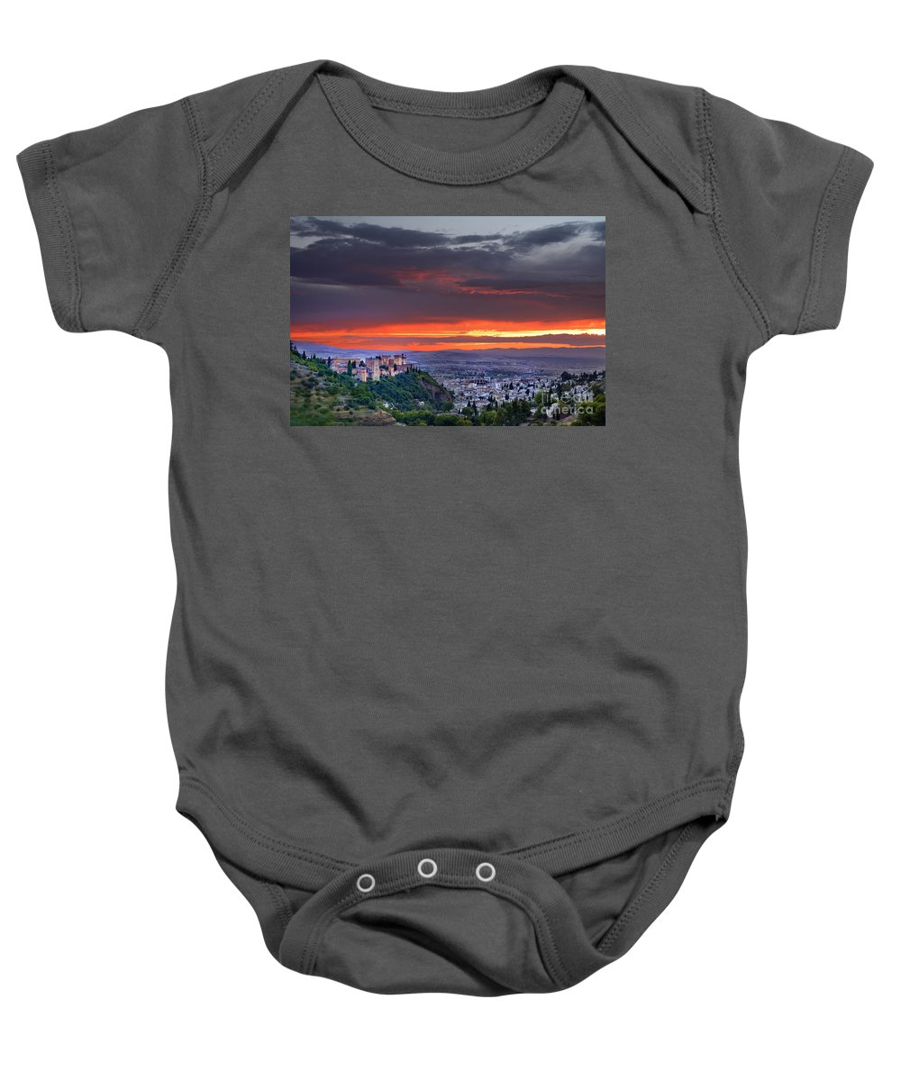 The Alhambra Baby Onesie featuring the photograph The Alhambra And Granada City by Guido Montanes Castillo