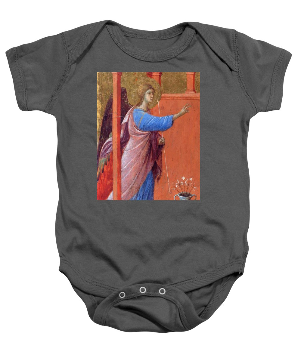 The Baby Onesie featuring the painting The Annunciation Fragment 1311 by Duccio