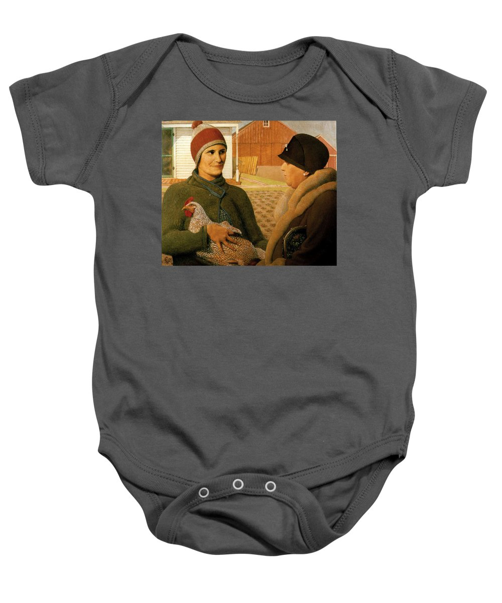 The Appraisal Baby Onesie featuring the painting The Appraisal by Celestial Images