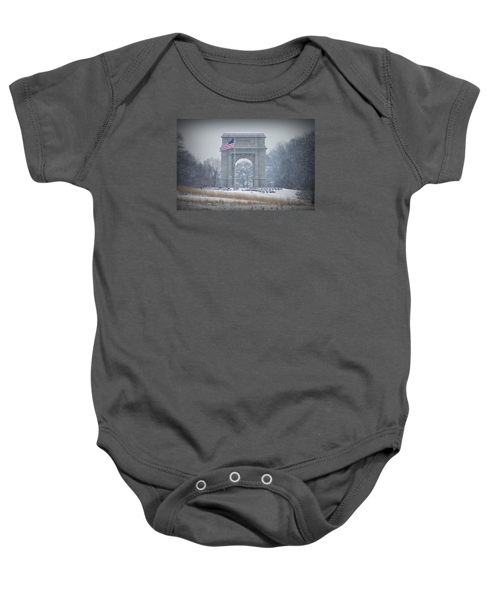 Arch Baby Onesie featuring the photograph The Arch At Valley Forge by Bill Cannon