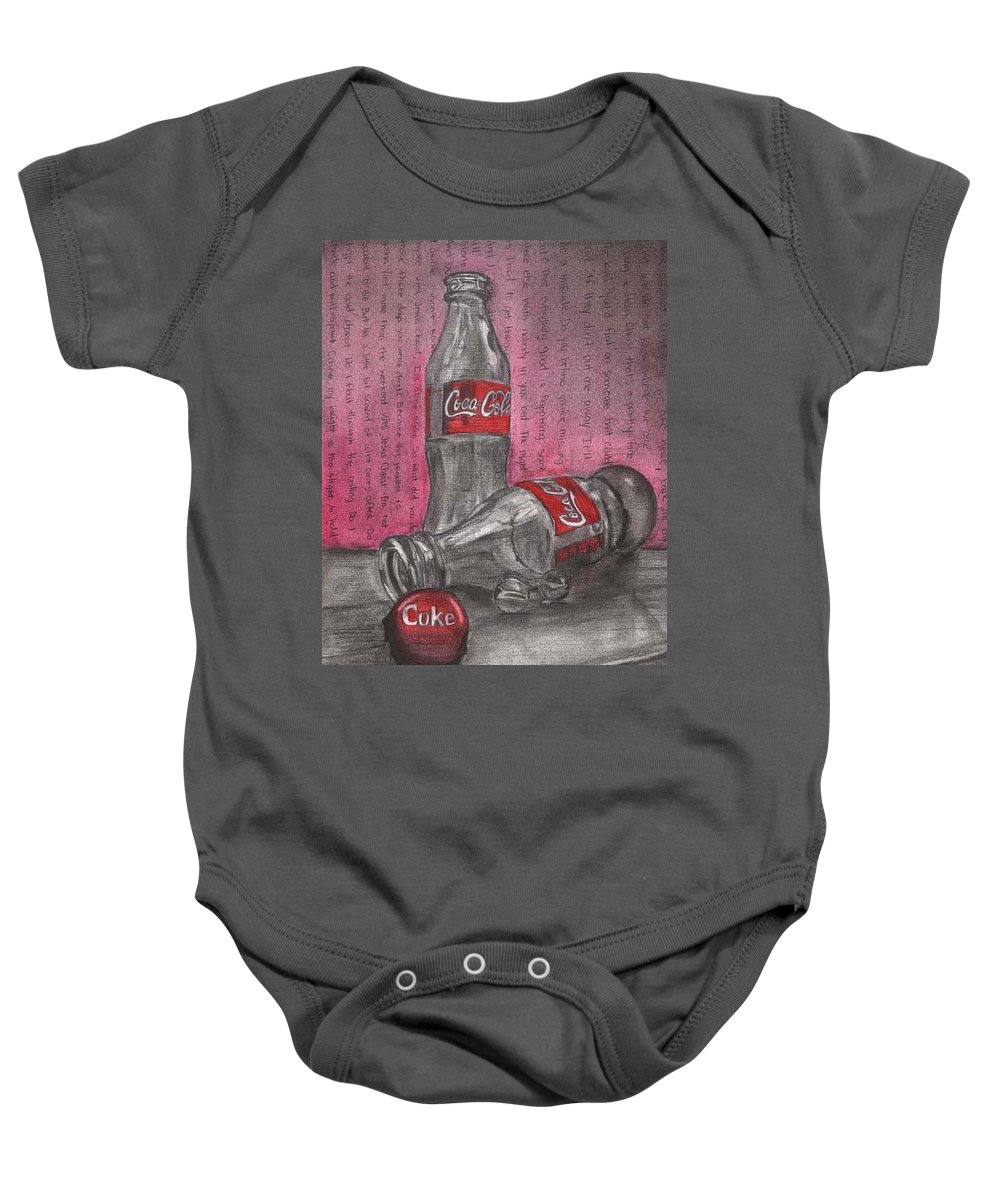 Coca Cola Bottles Still Life Baby Onesie featuring the pastel The Art Of Coca Cola by Maria Kobalyan