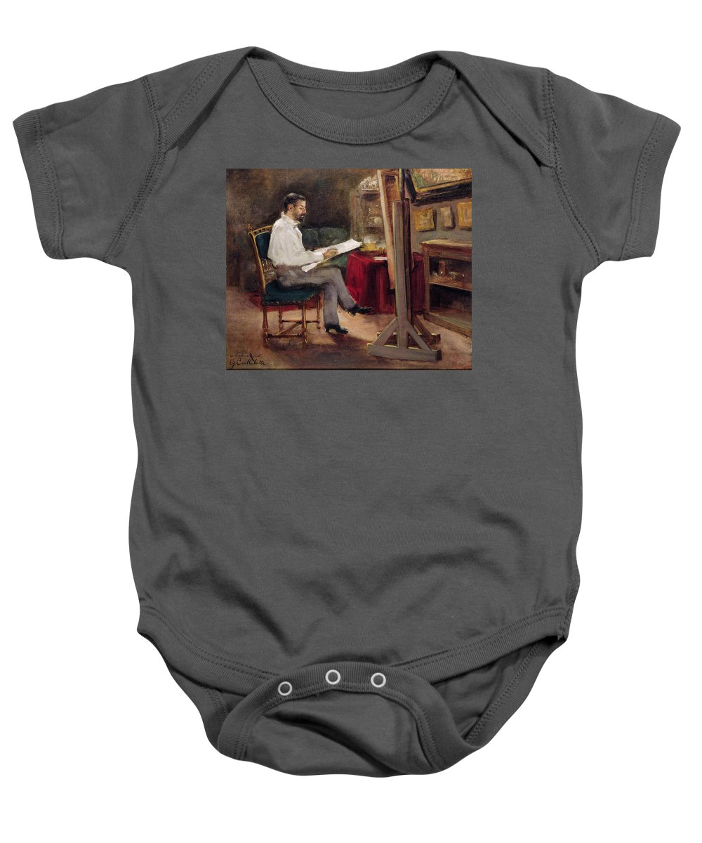 Man Baby Onesie featuring the painting The Artist Morot In His Studio by Gustave Caillebotte