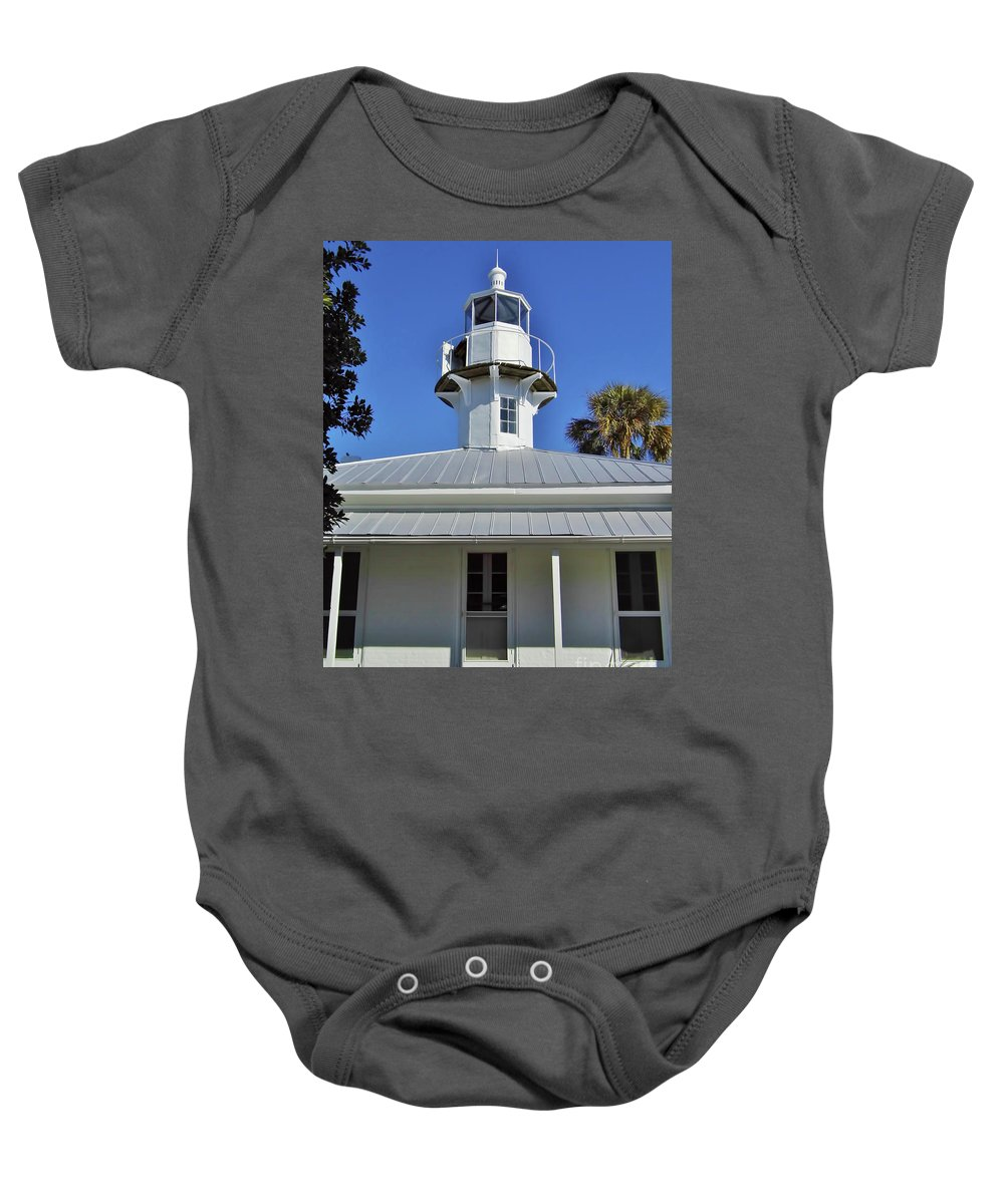 Cedar Key Baby Onesie featuring the photograph The Back Of The Lighthouse by D Hackett