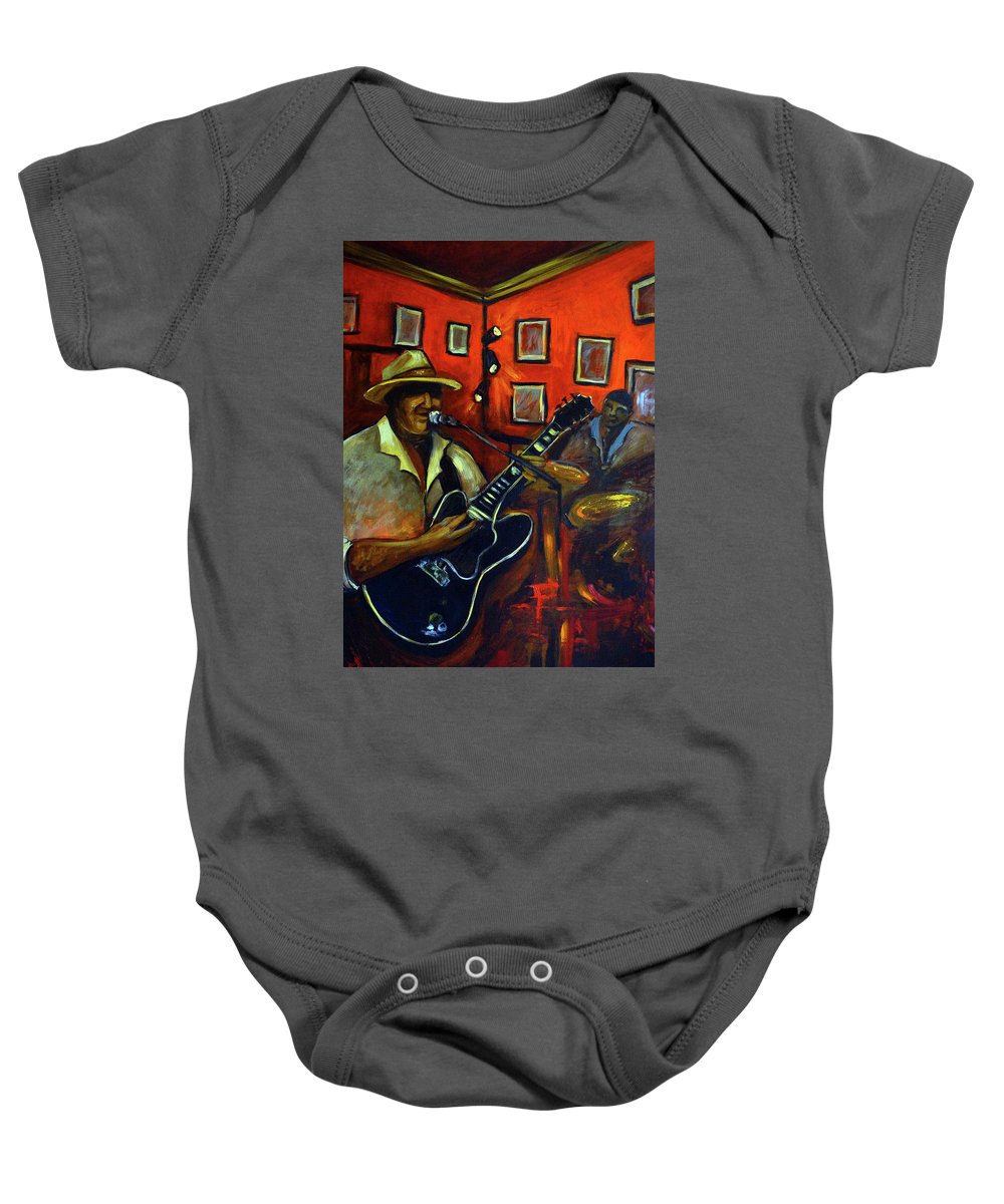 Blues Baby Onesie featuring the painting The Back Room by Valerie Vescovi