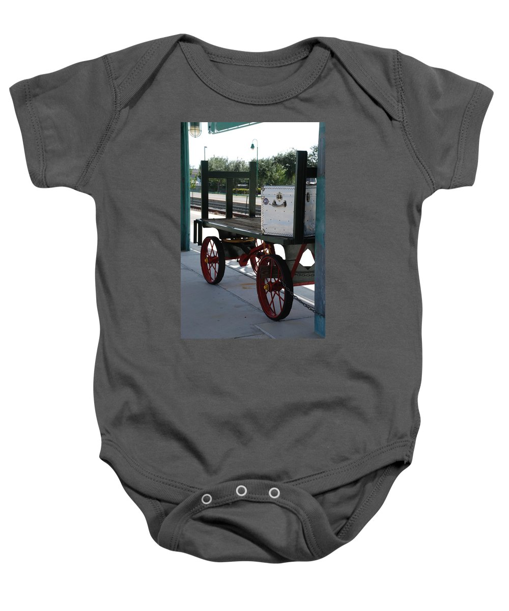 Train Station Baby Onesie featuring the photograph The Baggage Cart And Truck by Rob Hans