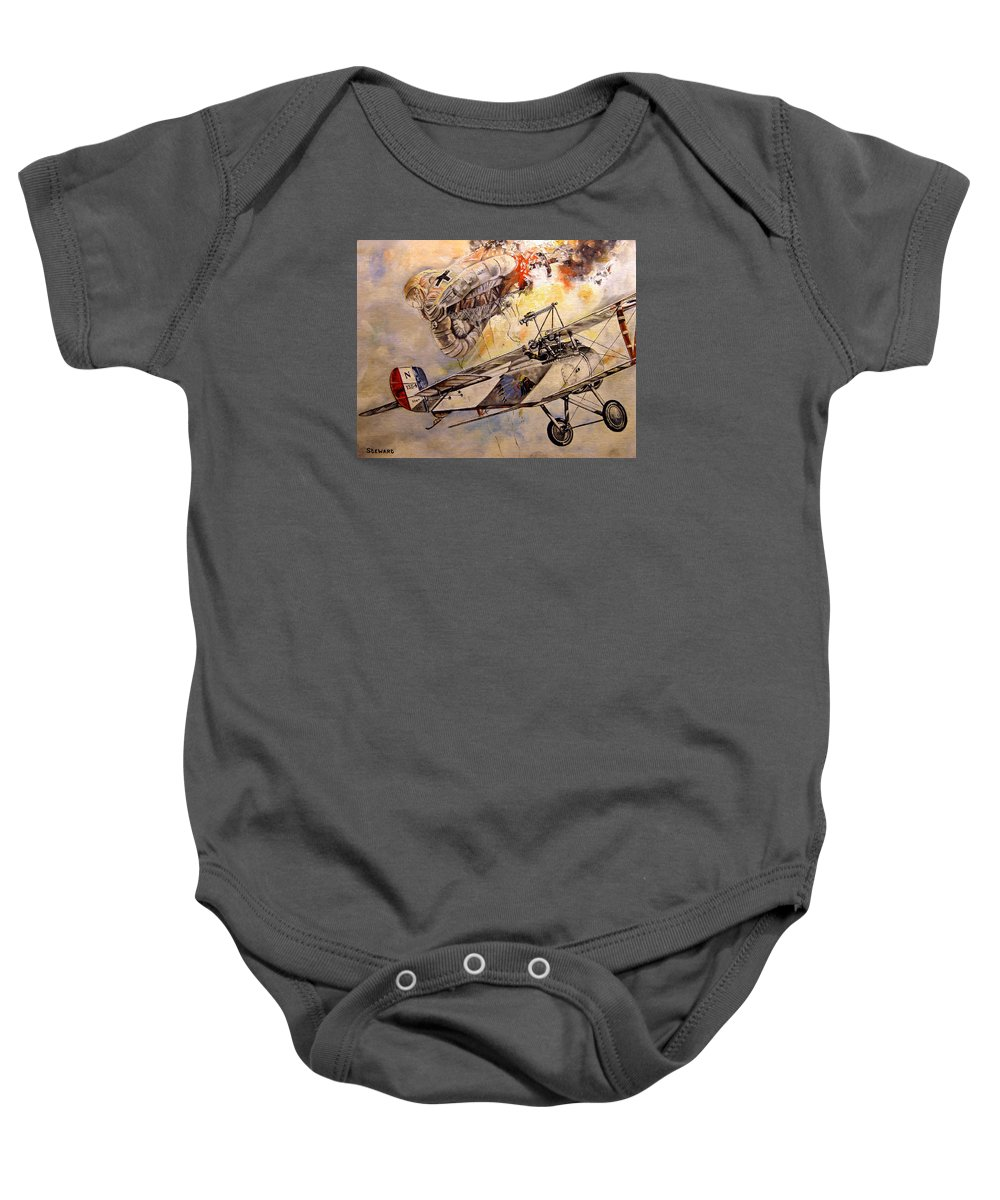 Military Baby Onesie featuring the painting The Balloon Buster by Marc Stewart